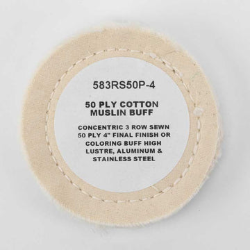50 Ply Row Sewn Cotton Muslin 4 Inch Buffing Wheel