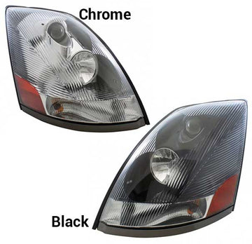 Volvo VN Replacement Headlights 2004 & Newer in Black or Chrome