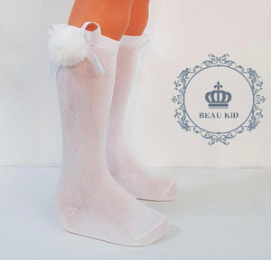Beau KiD Pom Socks- White