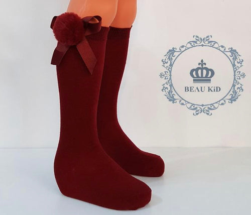 Beau KiD Pom Socks- Wine