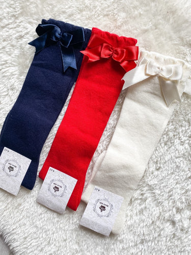 Beau KiD Bow Socks- Ivory