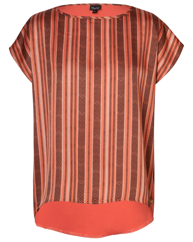 Boatneck Boxy Top - Clay Chevron