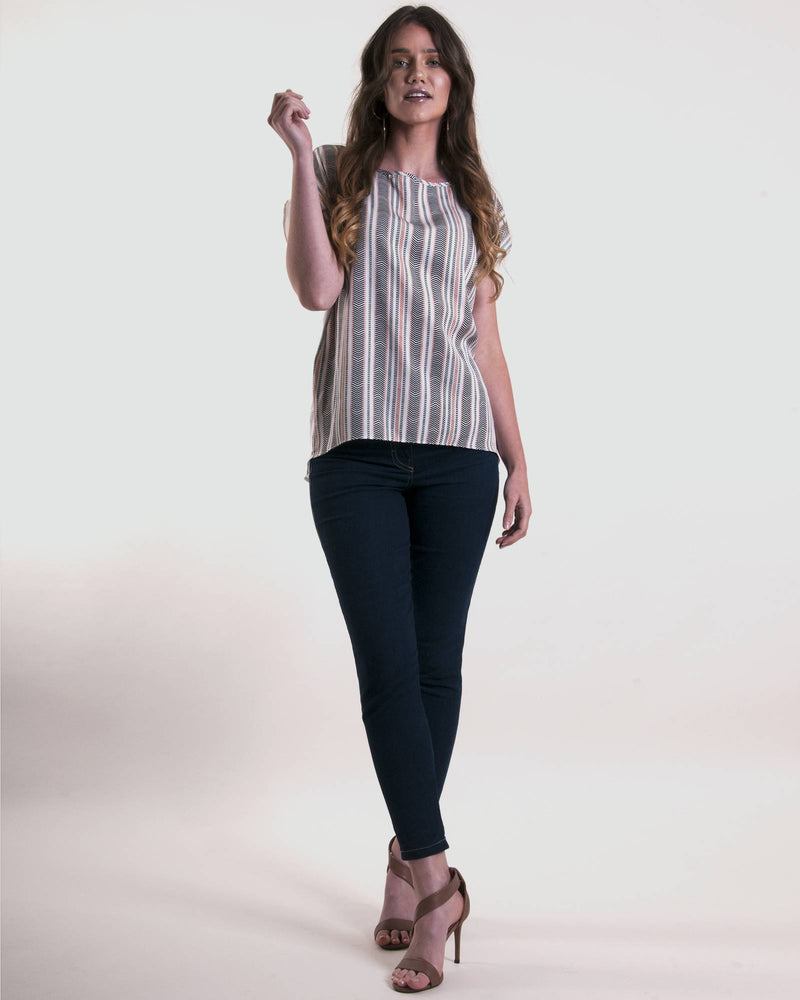Boatneck Boxy Top - Milk Chevron