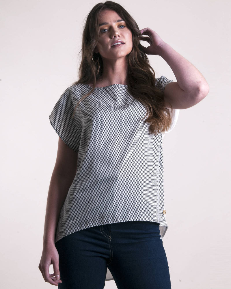 Boatneck Boxy Top - Milk Diamond