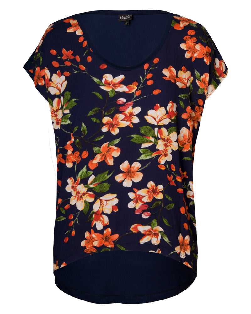 Combo Boxy Top - Navy Floral