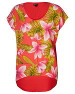 Combo Boxy Top - Coral Floral
