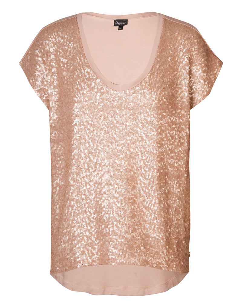 Combo Boxy Top - Mink Sequin
