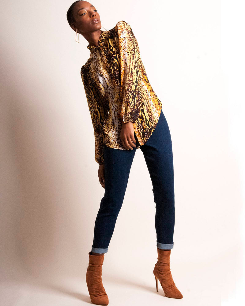 Vicky Blouse - Yellow Snake