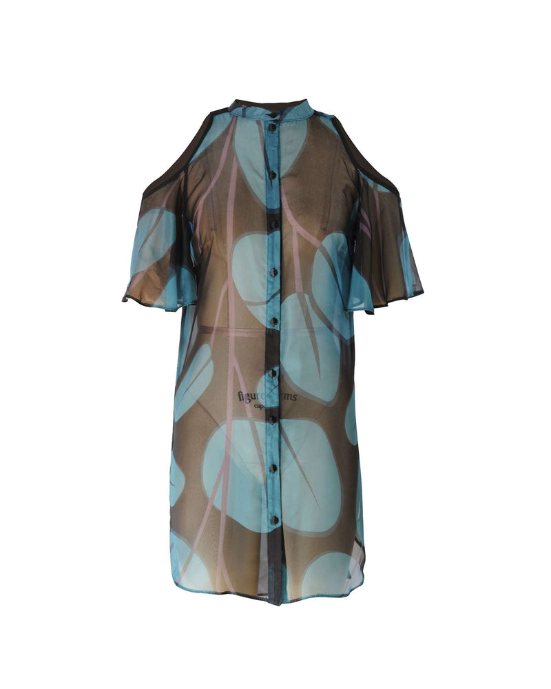 Open Shoulder LL Shirt-Pinkline Leaf Print