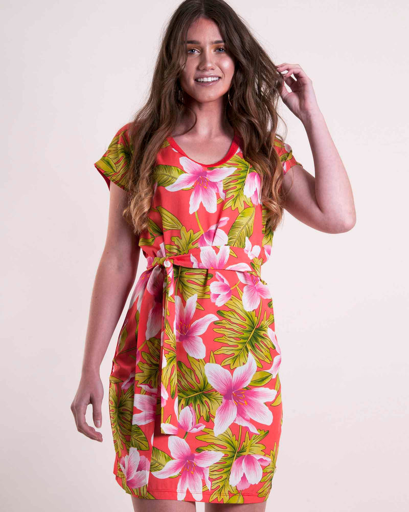 Combo Boxy Tunic - Coral Floral