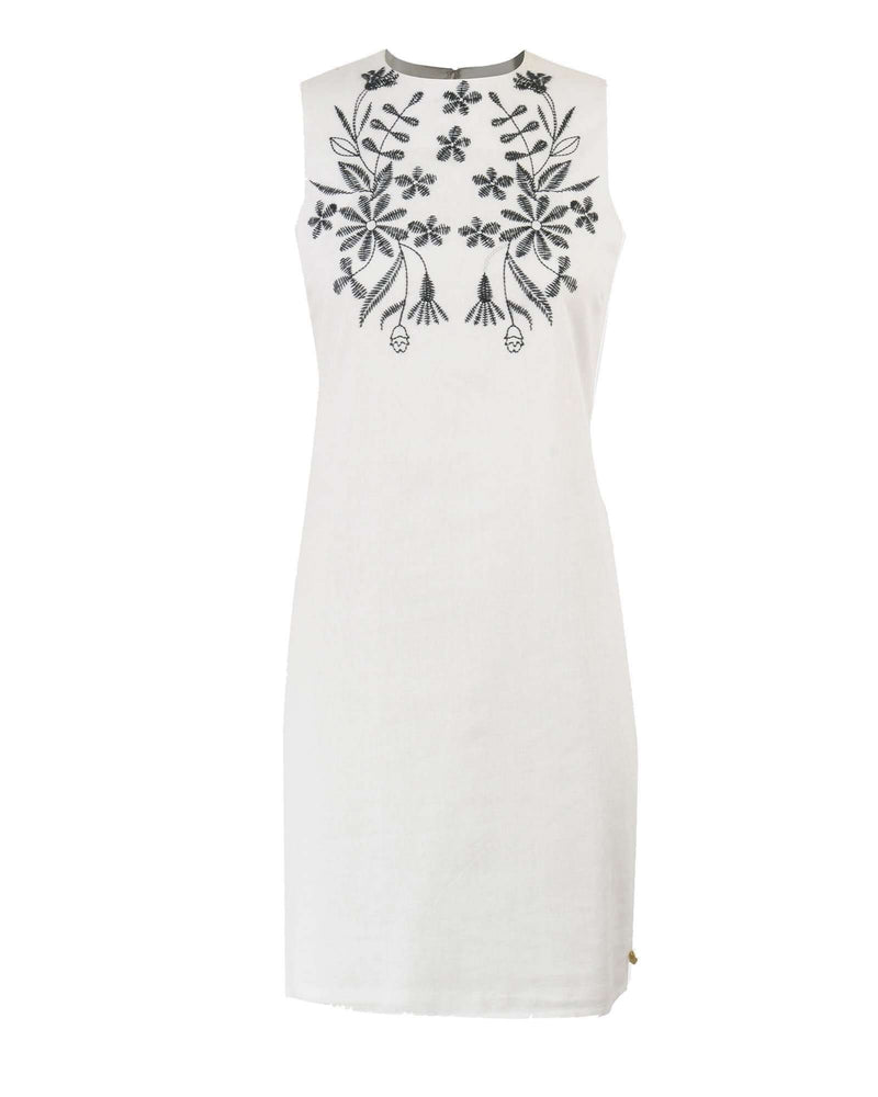 Sleeveless Shift Dress with Embroidery