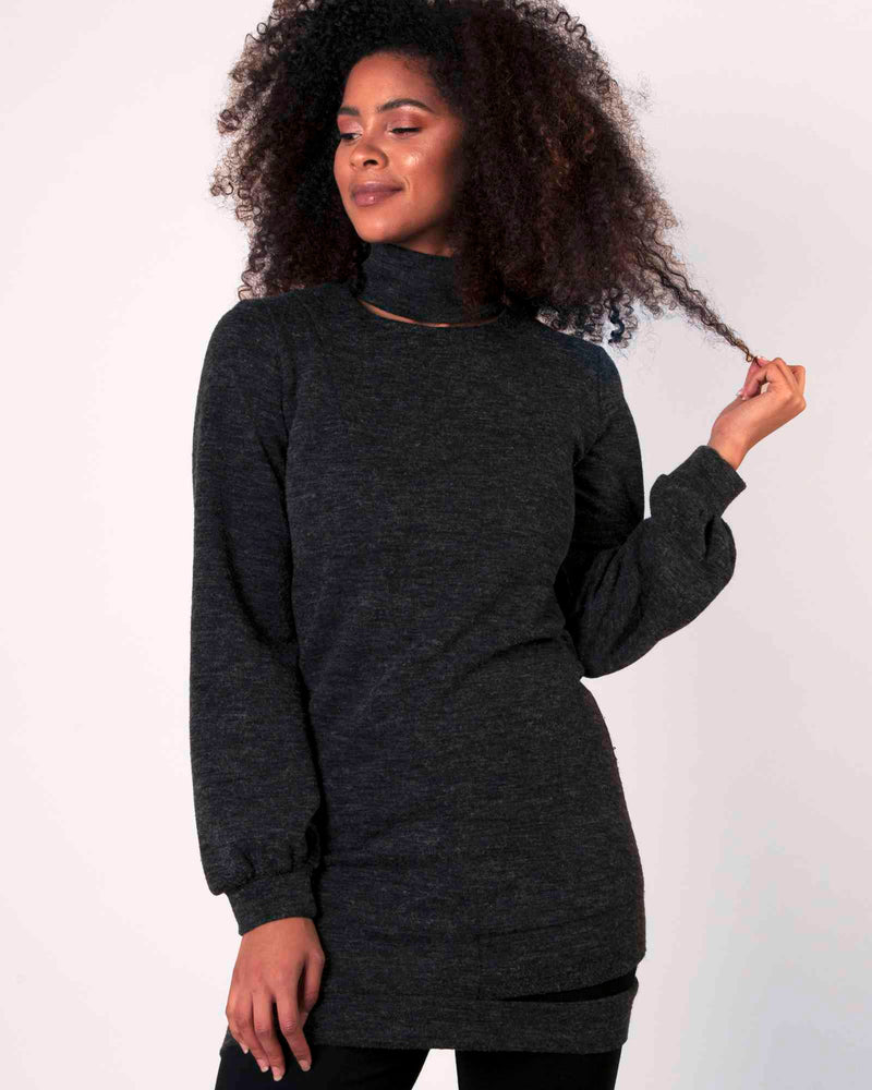 Desire Tunic Top - Charcoal