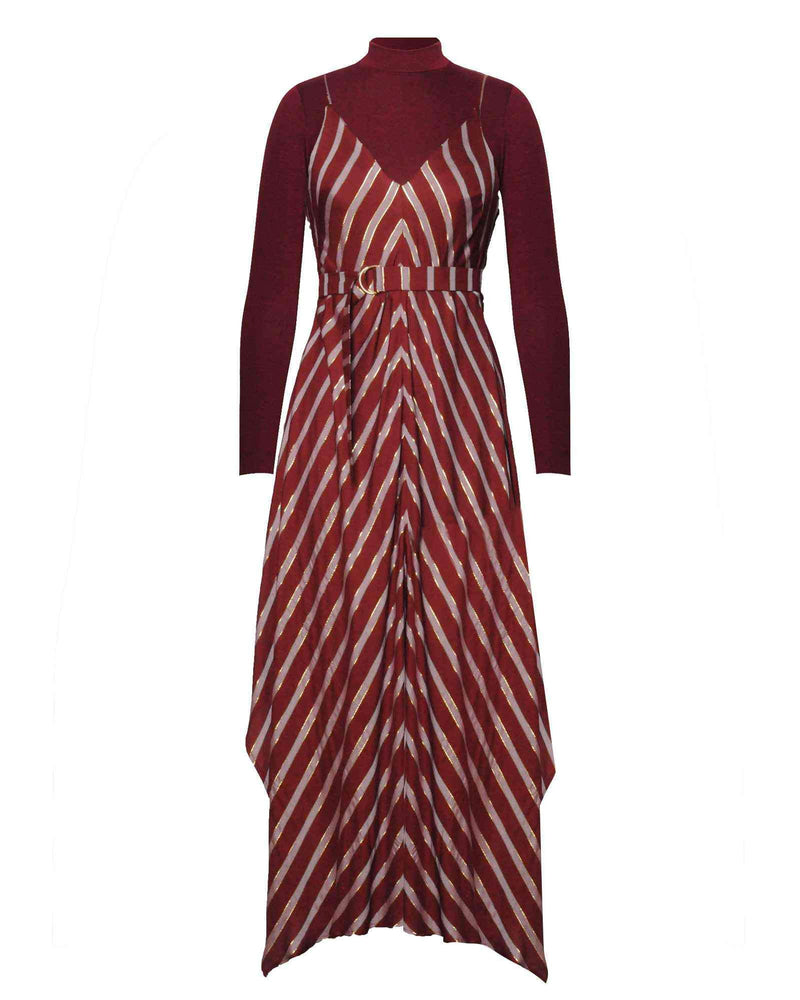 Hanky Dress & Polo Top 2 Piece - Wine
