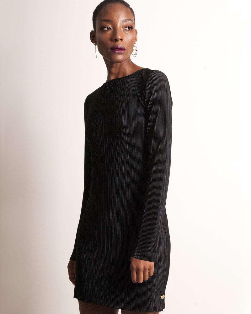 Boxy Tunic with Separate Underdress - 2 Piece - Black