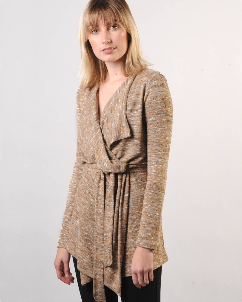 FACTORY STORE - Draped Cardigan - Gold Melange