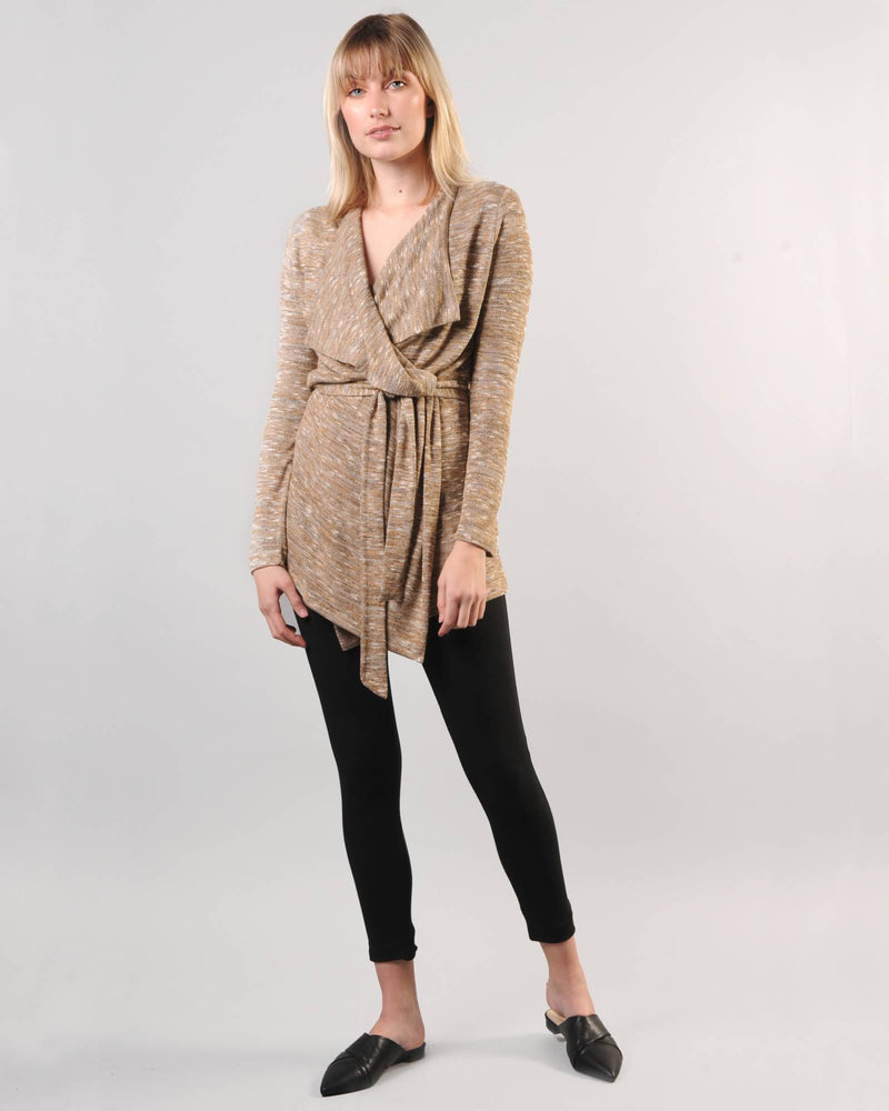 Draped Cardigan - Gold Melangé