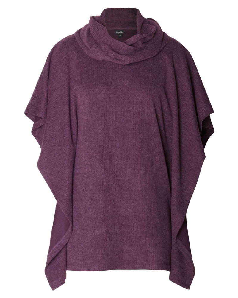 Square Poncho & Snood 2 Piece - Plum