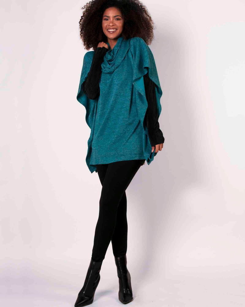 Square Poncho & Snood 2 Piece - Teal