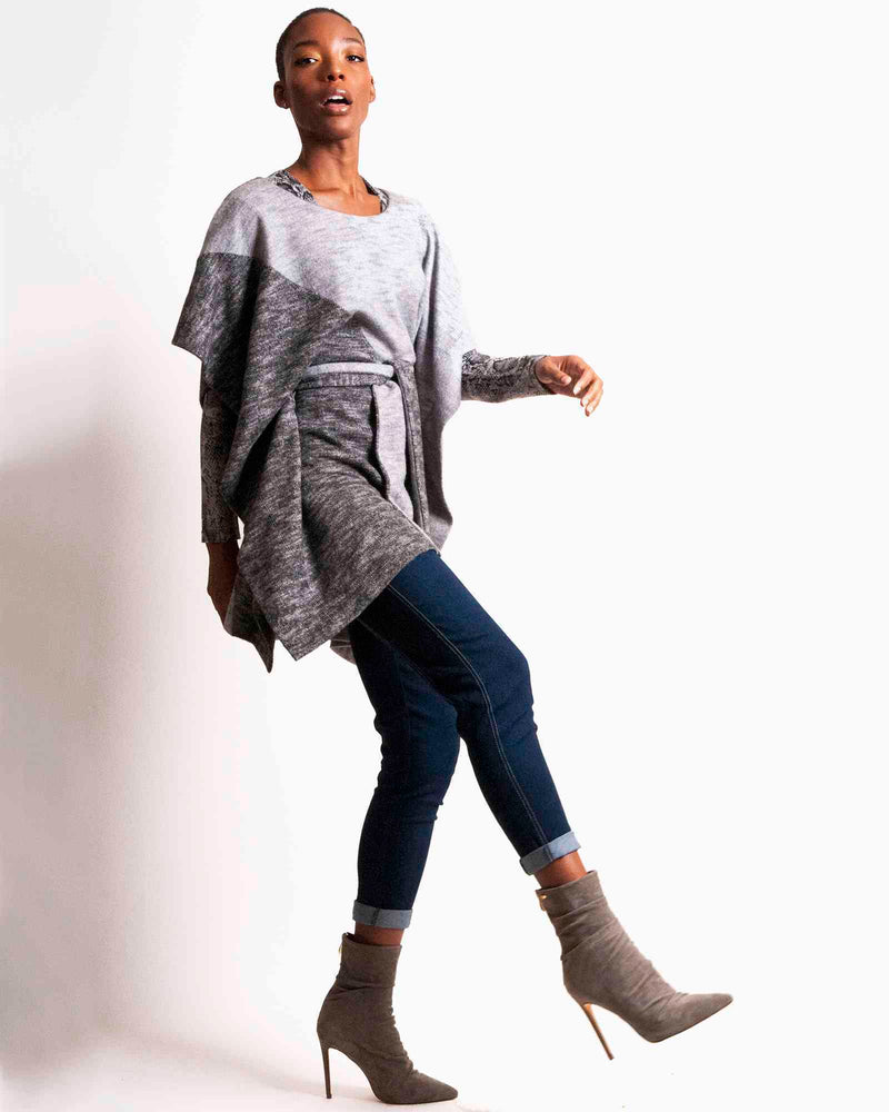 Belted Poncho - Greys Colorblock