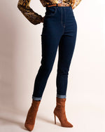 """The Line"" Classic High-waist Jeans - Blue Stretch Denim"