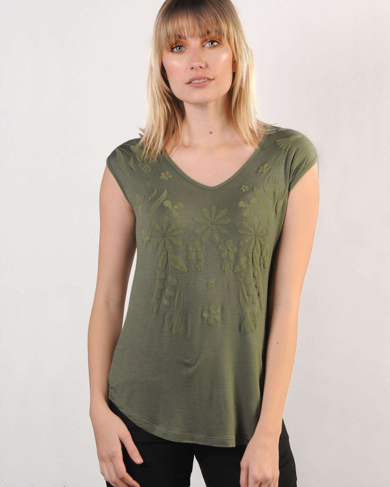 FACTORY STORE - Fitted Dolman Top with Puff Print - Olive