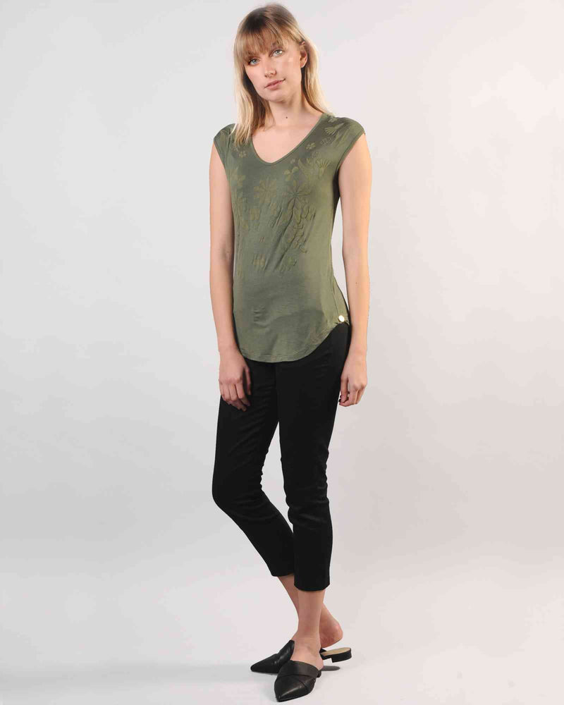 Fitted Dolman Top with Puff Print - Olive