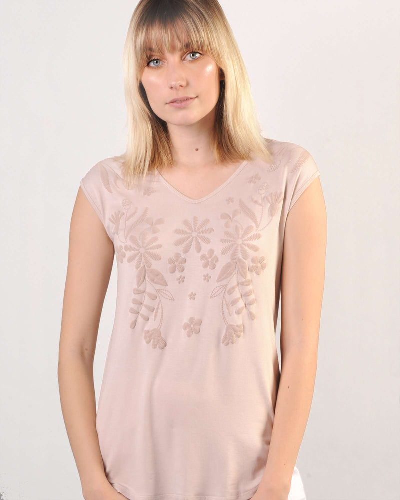 Fitted Dolman Top with Puff Print - Pink