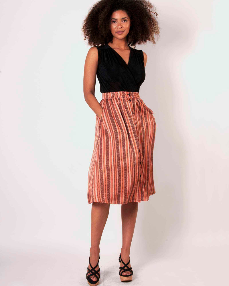 Button Down Skirt - Clay Chevron