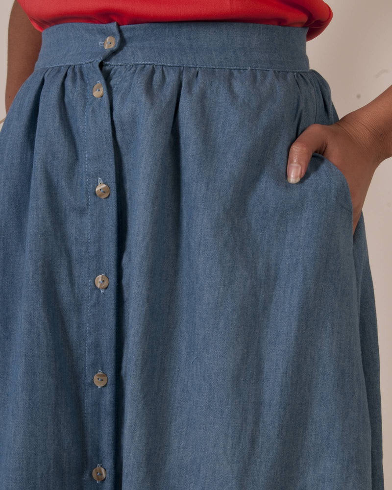 Factory Store | Button Down Skirt - Light Denim