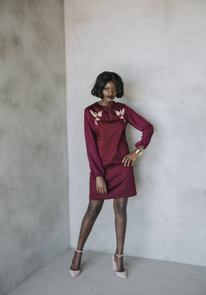 FACTORY STORE - Bell Sleeve Tunic - Wine Bird