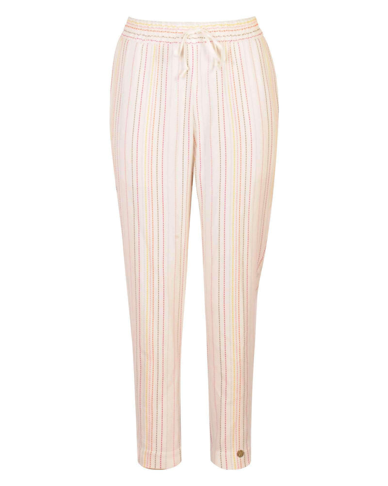 Cropped Jogger White Base - Color Stripes