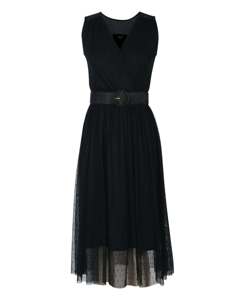 Crossover Frill Dress - Black