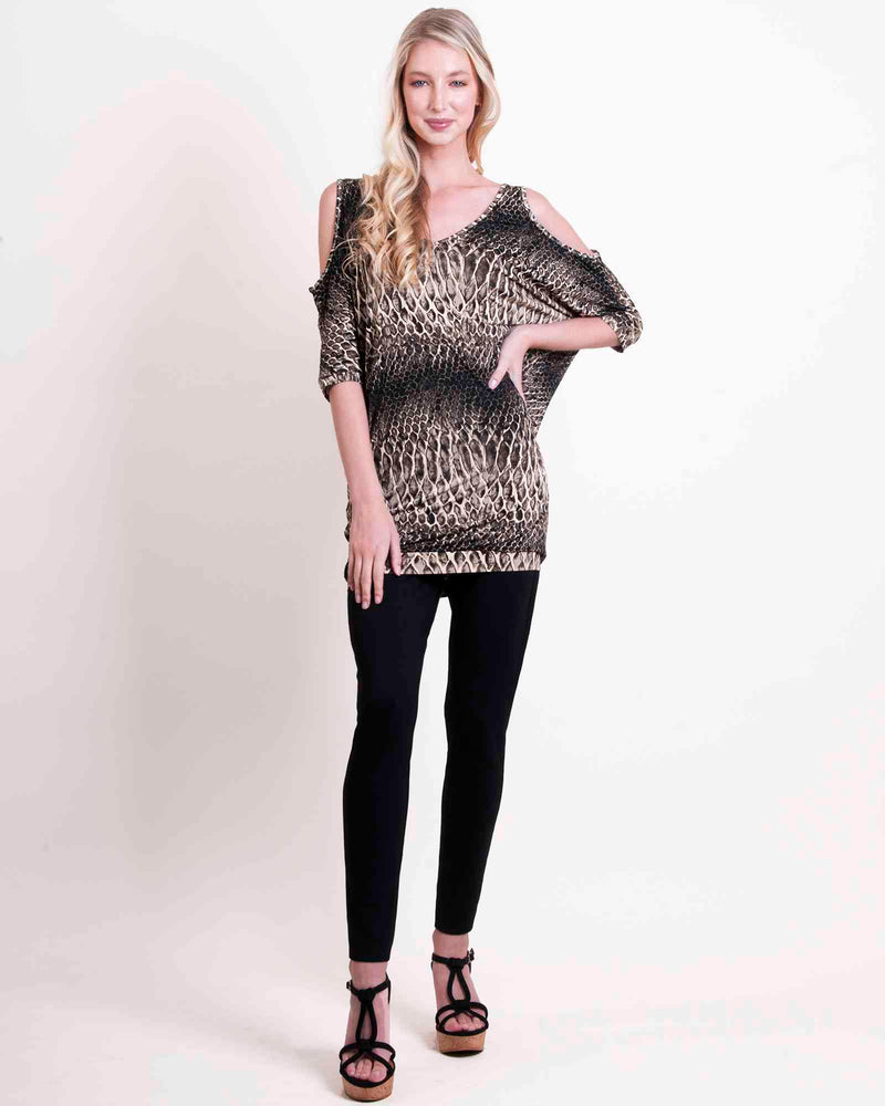 Cold Shoulder Tunic Top - Stone Snake
