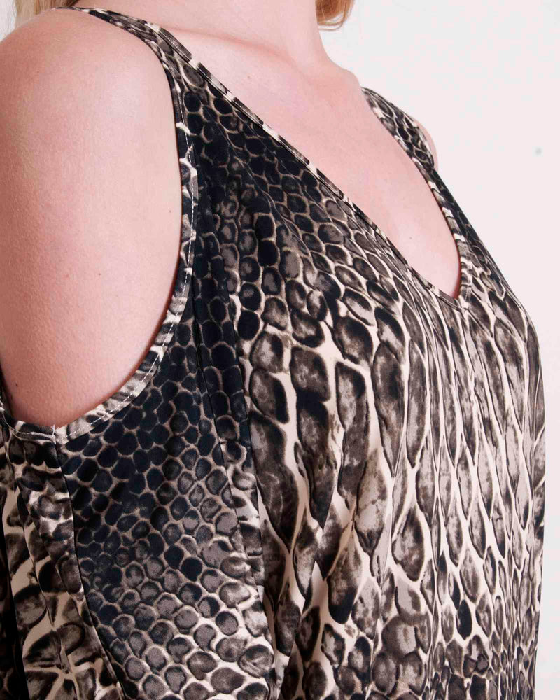 Factory Store | Cold Shoulder Tunic Top - Stone Snake