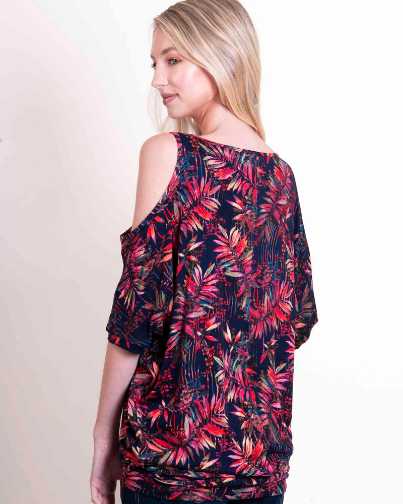 Cold Shoulder Tunic Top - Tropic Navy