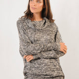 Factory Shop | Dolman Jumper - Black & White Melange