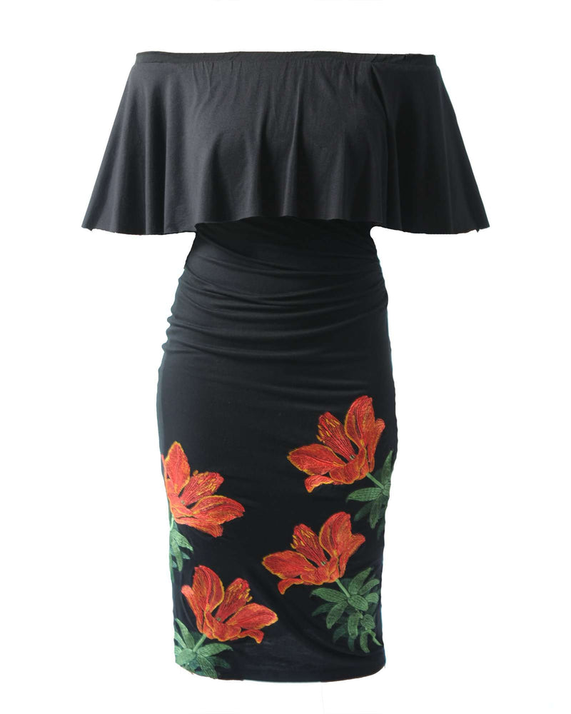 Embroidered OS Frill Dress