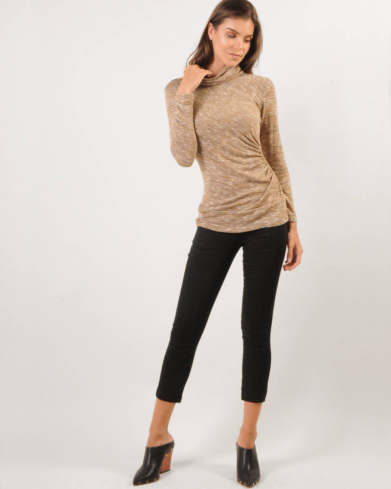 Gauged CC Knit Top - Gold Melangé