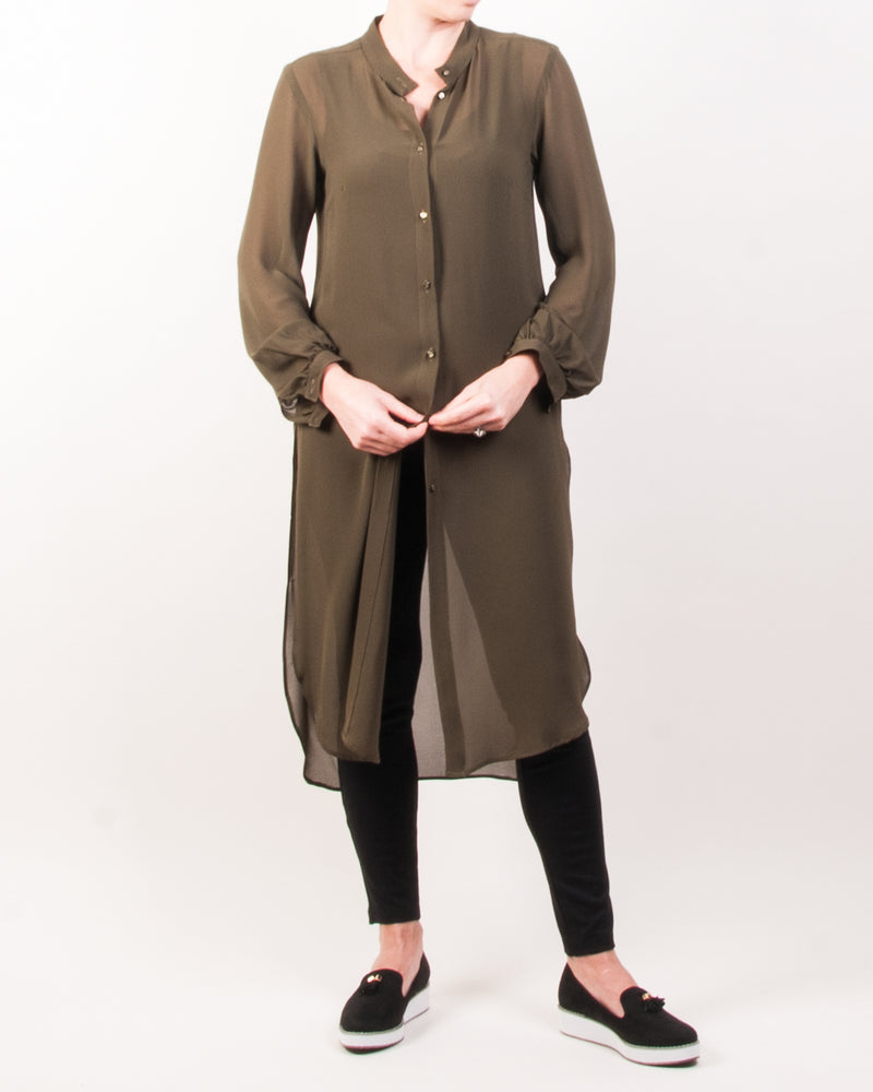 Judy Shirt Tunic Top - Olive