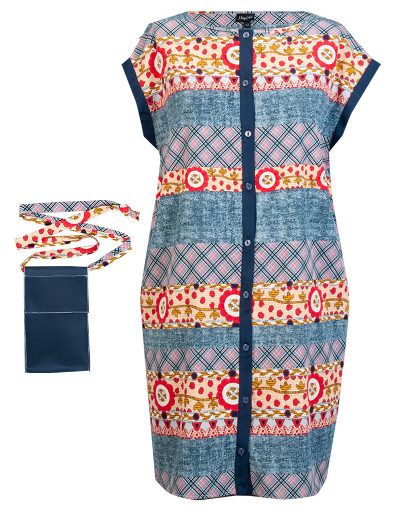 Button-up Tunic & Pouch - Blue