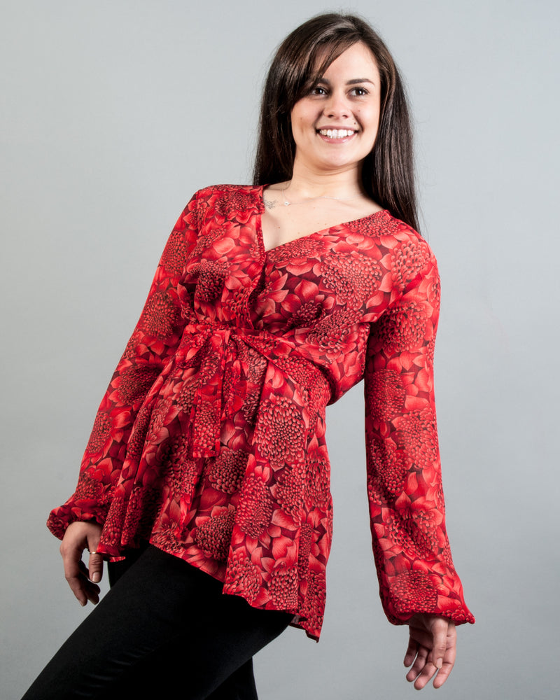 Empire Boho Top - Floral Red