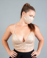 Ani Bralette & Face Mask - Mink Sequin