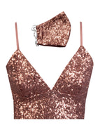 Ani Bralette & Face Mask - Rose Sequin