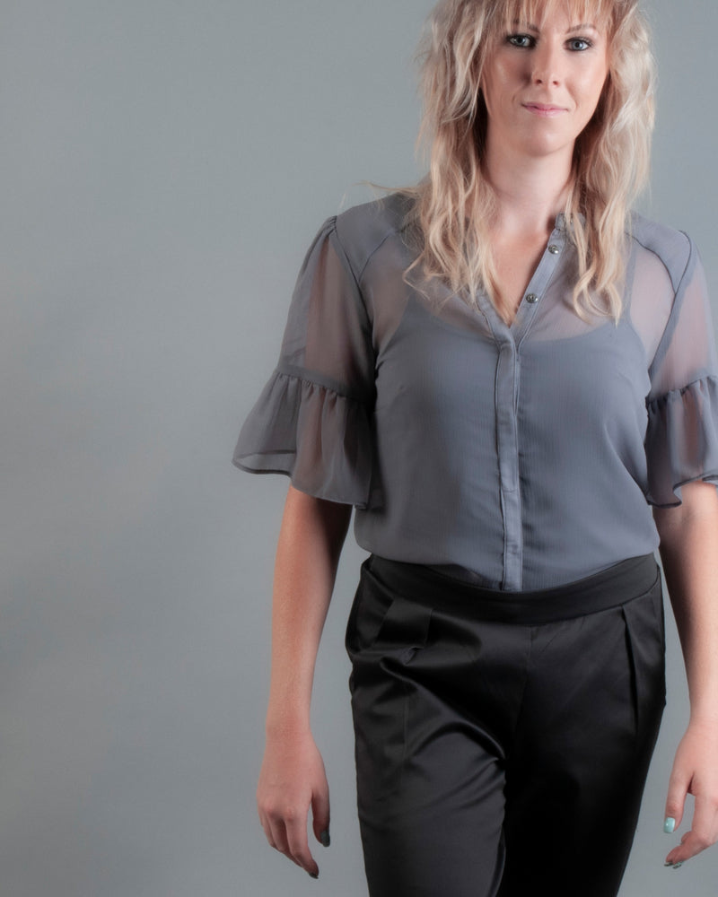 Cara Blouse 2 Piece - Charcoal