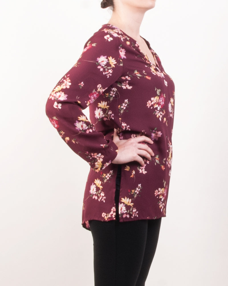 High Split Tunic Top - Wine Floral