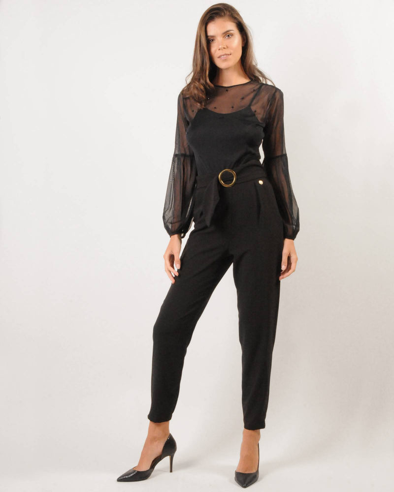 Mesh Bishop Sleeve Bodysuit - Beaded Black