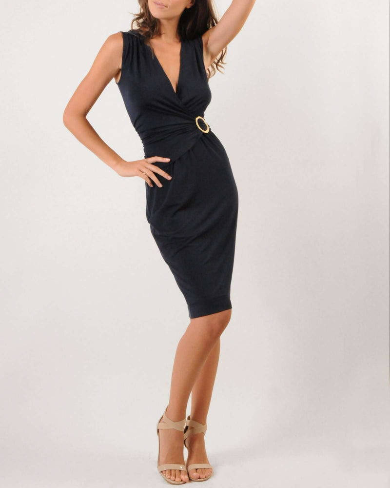 Mock Wrap Belted Dress - Navy