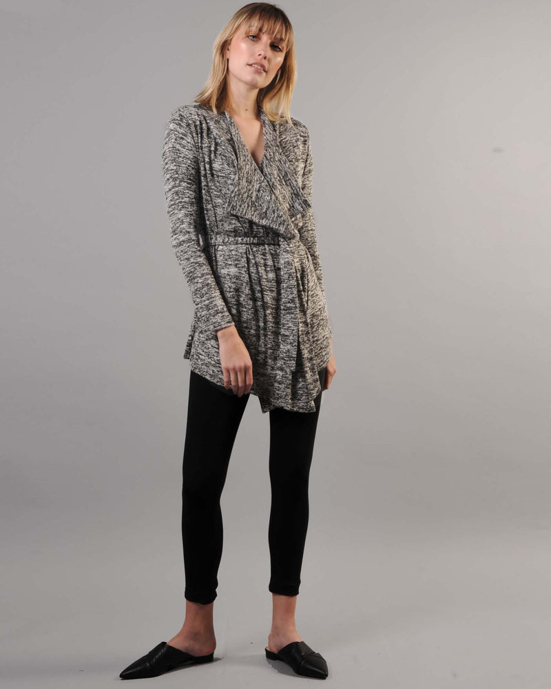 FACTORY STORE - Draped Cardigan - Black & White Melange