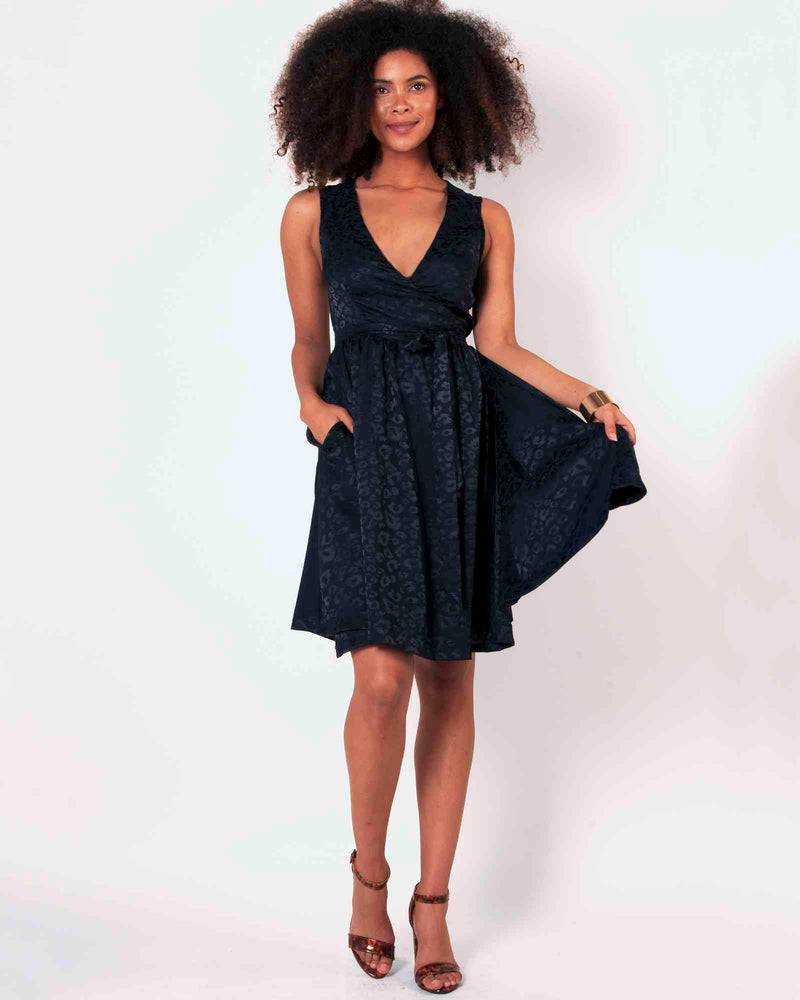 Woven Wrap Dress - Animal Jacquard Navy