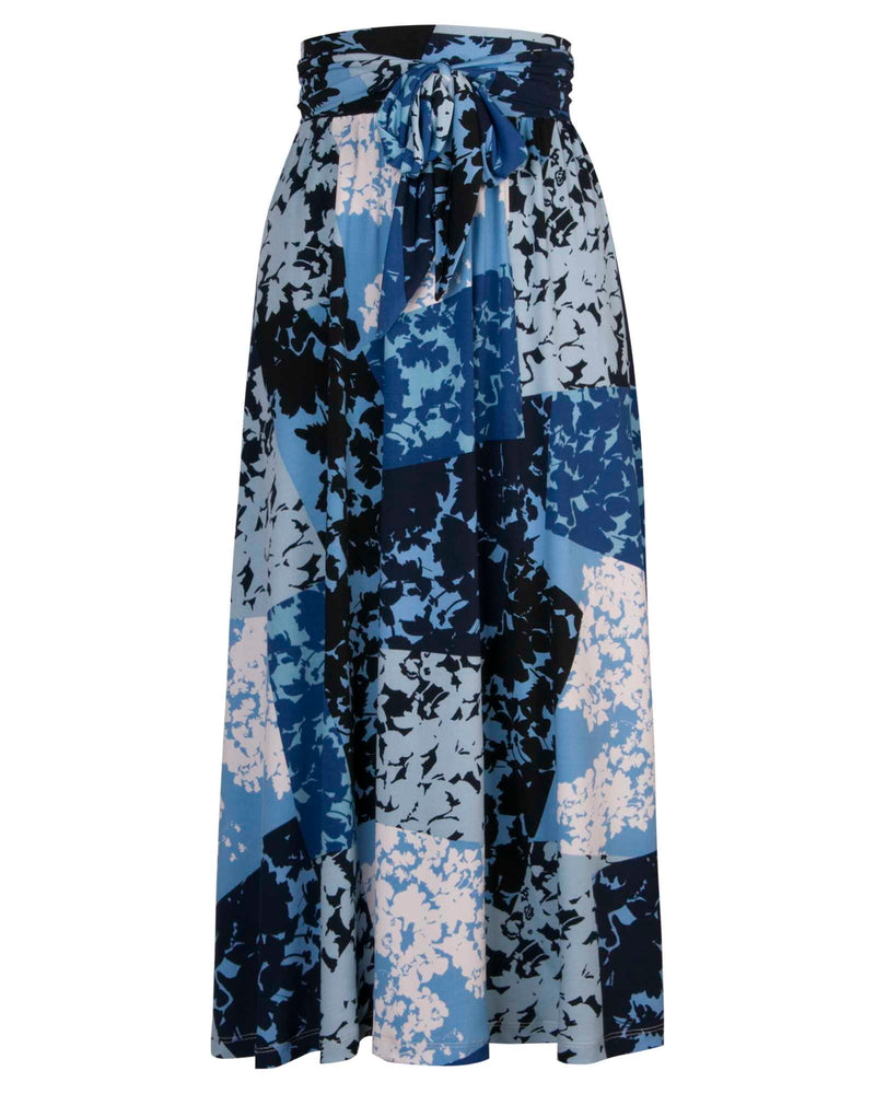 Knit Midi Skirt - Blue Print